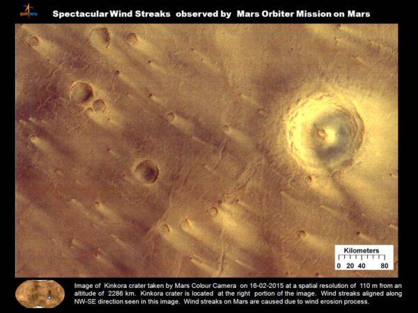 Kráter Kinkora vyfocený kamerou MCC 16. února 2015 z výšky 2286 kilometrů - rozlišení 110 metrů. Kráter Kinkora vidíme v pravé části fotky. Na fotce vidíme i větrnou erozi - stopy po větru ve směru SZ-JV