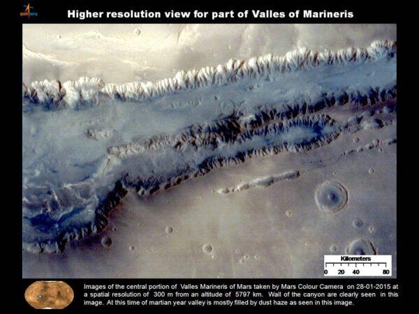 Středová část oblasti Valles Marineris vyfocená 28. ledna 2015 kamerou MCC z výšky 5 797 kilometrů s rozlišením 300 metrů. Na fotce je vidět  stěna kaňonu. Na fotkách je vidět, že údolí jsou zaplněna prachem.