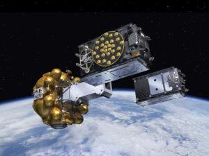 Vizualizace oddělení družic Galileo  od horního stupně Fregat