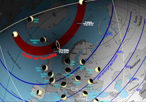 Takto mohli pozorovat zatmění obyvatelé různých koutů Evropy zdroj: astrobob.areavoices.com