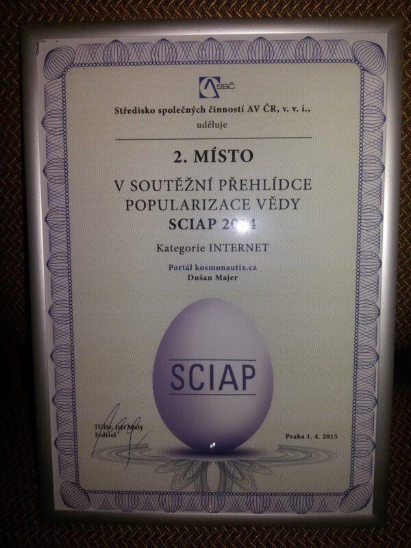 Diplom za druhé místo v kategorii Internet
