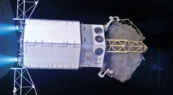 Detail ARV se zažehnutými iontovými motory vracející se od asteroidu zpět k Zemi.
