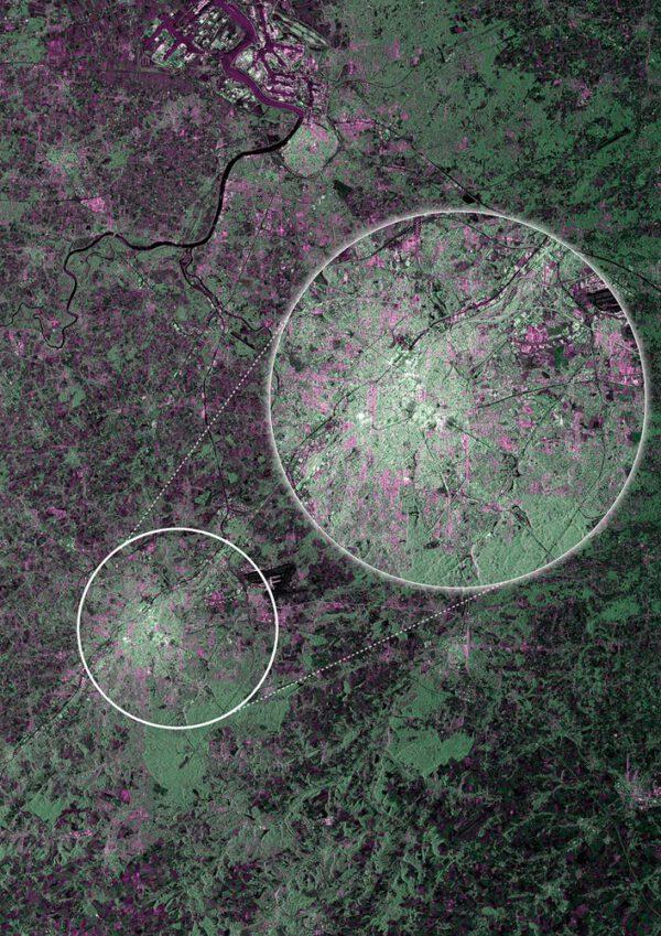 Hlavní město Belgie - Brusel v nepravých barvách