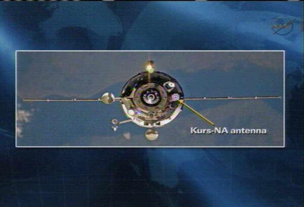 Ilustrační snímek: Umístění antény Kurs-NA na lodi Progress 17