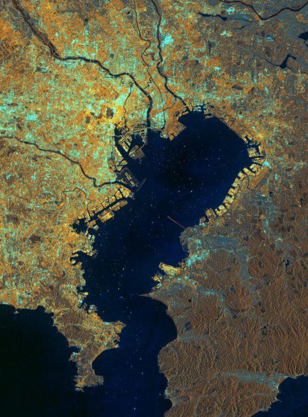 Tokijský záliv v Japonsku