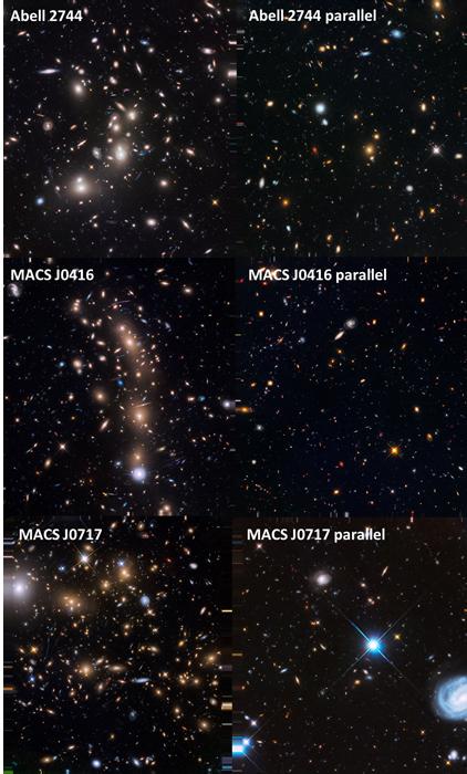Montáž snímků galaktických kup v rámci programu Frontier Fields a souběžného Paralel Fields. Tyto kupy a přilehlé oblasti už byly v rámci víceletého (a zřejmě posledního rozsáhlého) snímkování podrobně zmapovány. Názvy kup jsou řazeny odshora dolů, vlevo je vždy snímek kupy primárního Hubbleova pole, vpravo pole přilehlého: Abell 2744, MACS J0416 a MACS J0717. Snímkování poslední kupy a jejího přilehlého pole se v současnosti zpracovává, takže můžeme v blízké době jasnější snímky ve větším rozlišení.