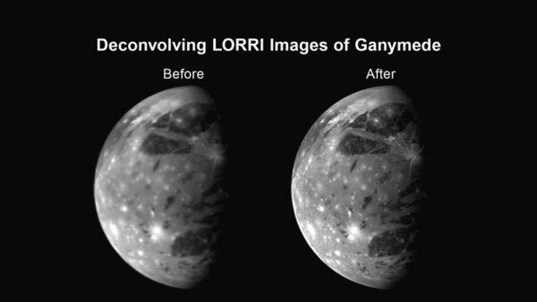 Ilustrační obrázek, který ukazuje, jak může dekonvoluce zlepšit obrázek z kamery LORRI - zde jupiterův měsíc Ganymed