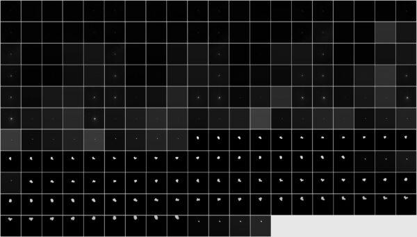 213 fotek pořízených mezi 3. červencem a 1. srpnem 2014. Vzdálenost od jádra 43 000 - 848 kilometrů.