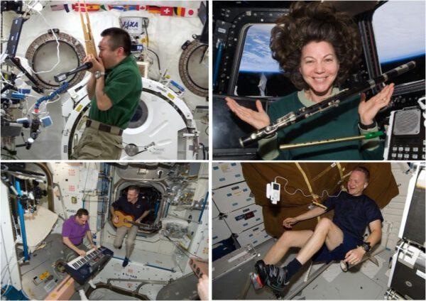 Aby si neustálý okolní hluk zpříjemnili, mnoho astronautů si na stanici vozí hudební přehrávače, někteří dokonce i hudební nástroje.