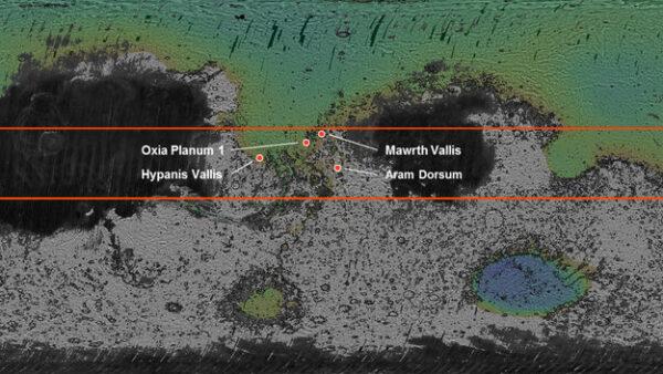 vybraná místa pro přistání ExoMars