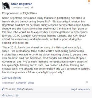 Sarah Brightman oznamuje odstoupení z mise