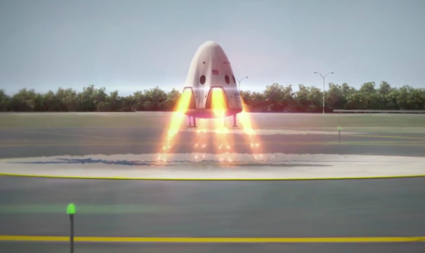 Motorické přistání Dragona - zatím jen jako počítačem generovaný obrázek