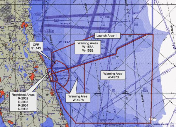 Mapa ukazující bezletové zóny v případě startu rakety Falcon 9