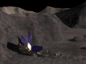 Představa sondy NEAR na planetce Eros. Dopadne stejně Rosetta?