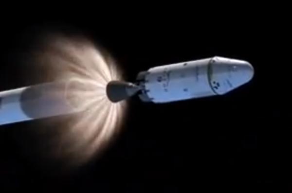 T+ 0:02:49: zapálení motoru druhého stupně