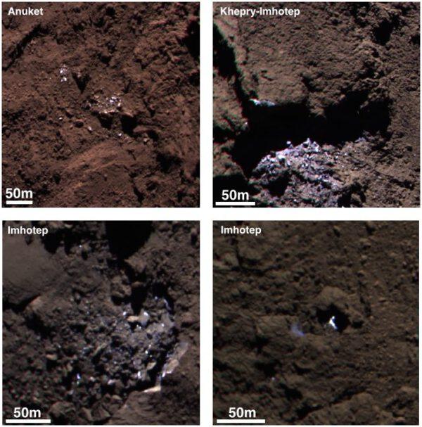 Snímky kamery OSIRIS pořízené během září 2014, když byla sonda 30 - 40 kilometrů od jádra.