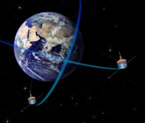 Představa družic Double Star na oběžné dráze