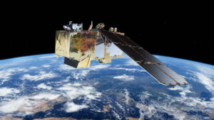 Vizualizace družice Sentinel-2 na oběžné dráze