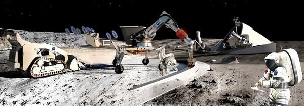 Umělecký koncept při robotické tvorbě základny a využívání místních zdrojů surovin Credits: Contour Crafting and University of Southern California