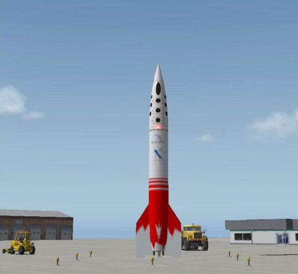 Raketa Canadian Arrow před startem (počítačová animace).