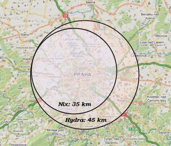 Velikost měsíců Hydra a Nix ve srovnání s rozlohou Prahy