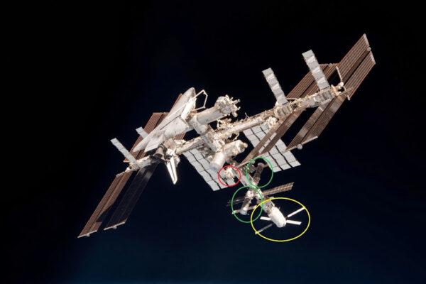 Čtyři dokovací porty, ke kterým se Sojuz může připojit: záď servisního modulu Zvězda (žlutá, momentálně s připojenou ATV); moduly Pirs a Poisk (zelené s připojeným Sojuzem a Progressem); a Rassvět (červený, na této fotce je port volný).