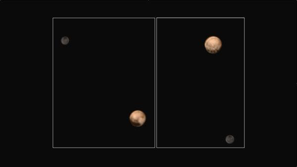 Oficiální složený snímek od NASA pořízený  25. a 27. června. Na barevné fotce vidíme obě polokoule trpasličí planety.
