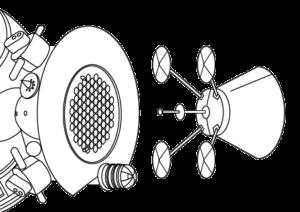 """Dokoací systém Kontakt. Aktivní člen (vpravo) se při dokování zasune do jedné z """"pláství"""" na pasivním členu. Dotáhne se sonda na aktivním členu (kulička na konci slouží jako zarážka proti vytažení) a lodě se o sebe zapřou """"talíři"""" na konci ramen okolo sondy. Absence průlezu je kompenzována nízkou hmotností a technickou jednoduchostí. Zdroj: commons.wikimedia.org"""