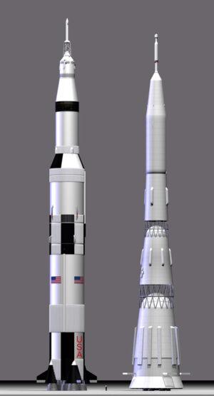 Porovnání velikostí americké rakety Saturn V a sovětské N-1