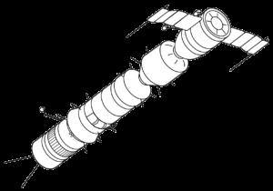 Komplex Sojuz-A-B-V. Loď Sojuz-A se nachází nejvíce v pravo a je připojena na Sojuz-B - pohonný stupeň. Ten je doplňován tankerem Sojuz-V. Zdroj: commons.wikimedia.org