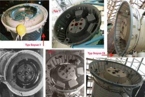 Motory různých lodí Sojuz. Ve středu se nachází hlavní motor, po stranách 2 záložní a ostatní 4 ještě menší jsou RCS trysky. Zdroj: b14643.de