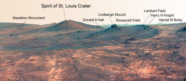 Kráter Spirit of St. Louis na Marsu