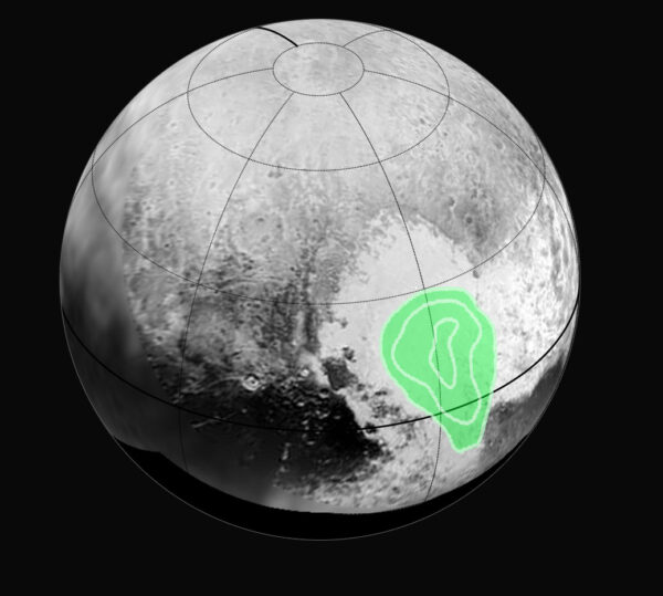 Uložení zmrzlého oxidu uhelnatého v lokalitě Tombaugh regio. Čáry ukazují, že koncentrace roste směrem ke středu. Data pořídil spektrometr Ralph během průletu  14. července a na Zemi dorazila o dva dny později.
