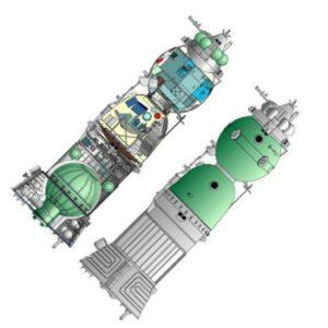 Sojuz 7K-LOK. V horním proříznutém obrázku si je možné všimnout například hydrazinové nádrže, složeného padáku nebo třeba dokovacího zařízení. Zdroj: astronautix.com
