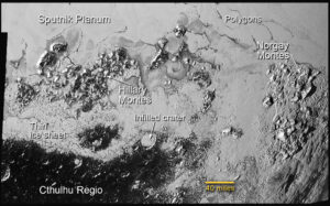 Jiží část oblasti Sputnik Planum