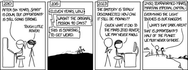 Jeden z mnoha komiksových stripů s tématem roveru Opportunity.