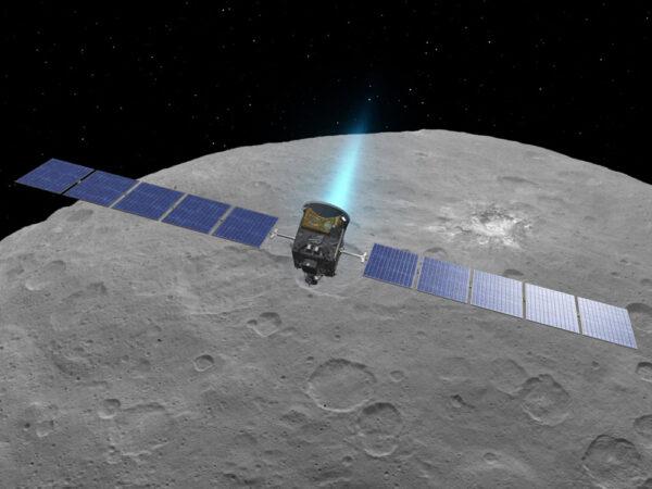 Vizualizace sondy Dawn s aktivním iontovým motorem