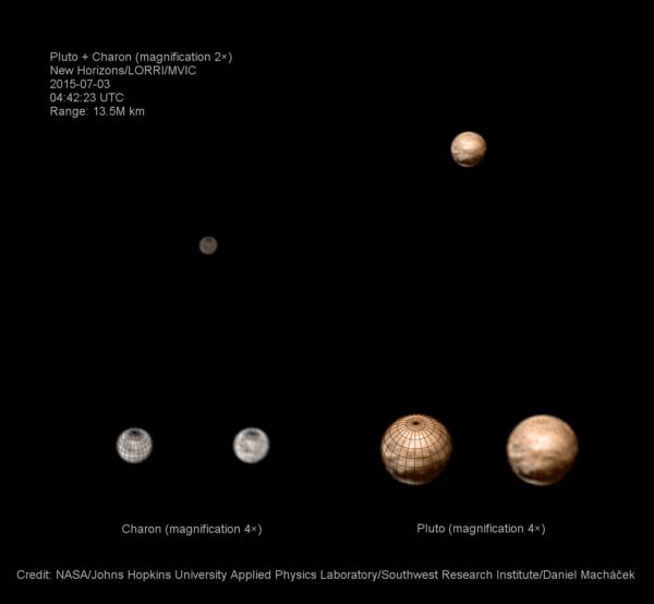 Pluto a Charon 3. 7. 2015. Foto: NASA/JHU-APL/Dan Macháček