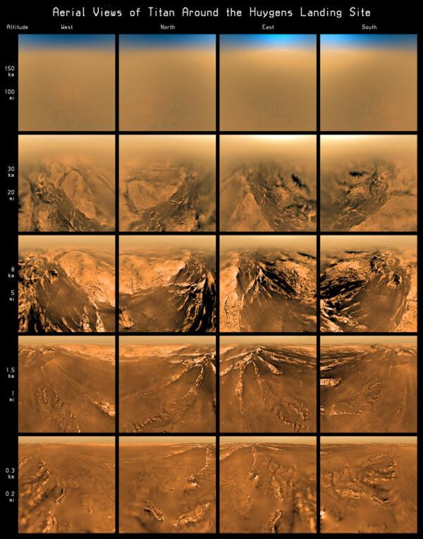 Snímky z modulu Huygens pořízené během klesání na padáku