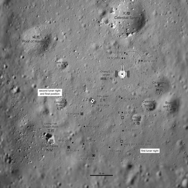Trasa roveru Yutu - neoficiální, ale velmi přesná.
