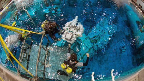 Jakmile jsme spuštěni do vody na začátku výcviku, ujímají se nás potápěči.