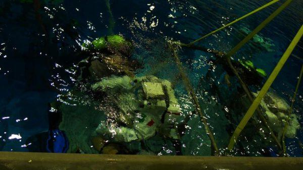 Potápěči se nás ujímají okamžitě po našem zanoření pod vodu. Během šestihodinového cvičení obvykle pracují na tři směny po dvou hodinách s tím, že potápěči z první směny se obvykle vrátí na směnu třetí.