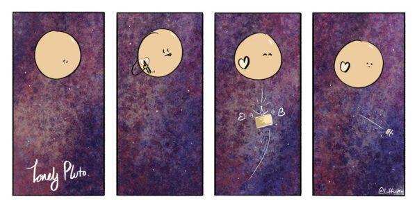 Ani namalované srdíčko Plutu nepomohlo. Návštěva hned letí pryč.