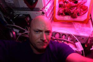 Scott Kelly se fotí se salátem vypěstovaným na ISS