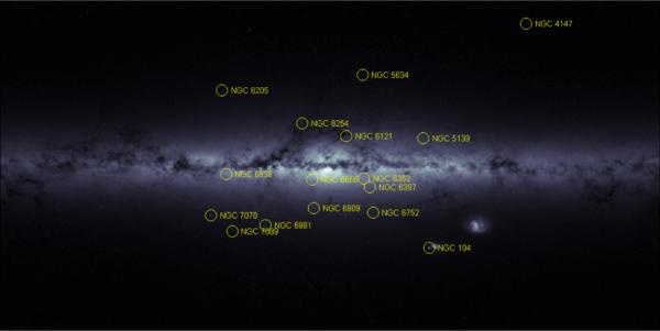 """Impozantní silueta našeho domova: Galaktického disku a jeho drobných satelitů Magellanových oblaků. S každou obrátkou obrazových detektorů podél osy sondy se mnohanásobně načítají jejich snímané oblasti. Výsledná data pak umožňují zobrazení detailního rozložení hvězd. Čím světlejší je zobrazená oblast, tím více hvězd obsahuje. Jejich největší koncentrace se nachází ve střední výduti Galaxie. V této oblasti však neznamenají tmavá místa """"málo hvězd"""", nýbrž oblasti hustých prachoplynových oblaků, která pohlcují světlo hvězd za nimi. Naopak například v infračerveném oboru vykazují velkou aktivitu - mnohá z nich tvoří zárodečná mračna pro mladé hvězdy. Galaktický disk má horizontálně rozměry přibližně 100 000 světelných let, vertikálně něco kolem tisíce."""