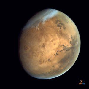 Tharsis a Valles Marineris z MOM. Zdroj: ISRO
