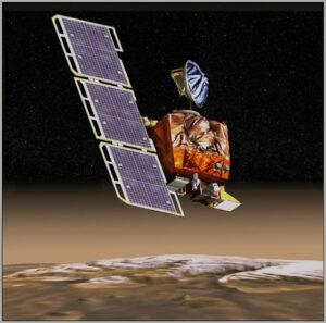 Umělecká představa sondy MCO u Marsu