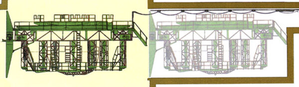 Nákres plošiny vysunuté pod kruhový otvor v rampě, do kterého zapadají motory prvního stupně (vlevo). A plošiny zaparkované v hangáru uzavřeném čelním štítem v okamžiku startu (vpravo)