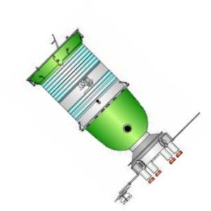 Loď Sojuz PPK. Kosmonauti se měli přiblížit k cílovému tělesu (pouze pomocí radaru, ručního dálkoměru a podobných zařízení nevyžadujících asistenci cílového tělesa) a zjistit, jestli se satelit určený k destrukci umí nějak bránit. Pokud by usoudili, že je možné ho zničit, vzdálili by se do bezpečné vzdálenosti 1km a pomocí raket na místě orbitálního modulu satelit zneškodnili. Zdroj: satronautix.com