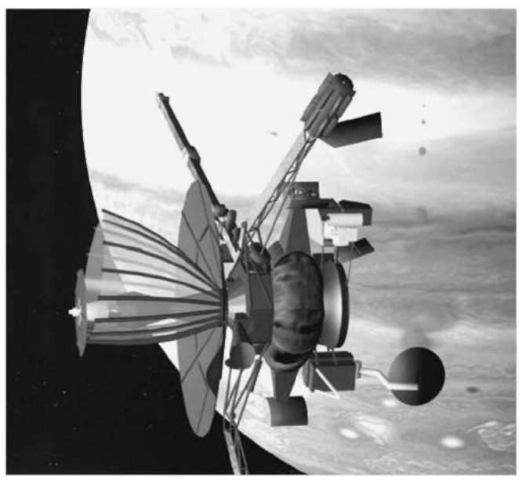 Vizualizace poškozené antény na sondě Galileo